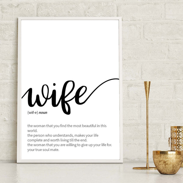Wife Definition Print, Dictionary Definition Print, Wife Print, Anniversary Print, Wedding Gift Print, Valentines Print