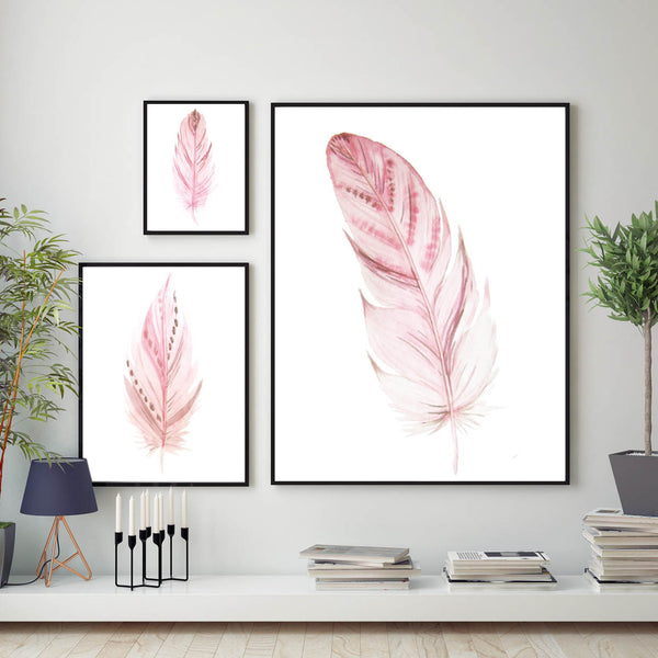 Set of 3 Blush Pink Feather Prints, Blush Feathers Poster, Blush Pink Wall Art Print, Feathers