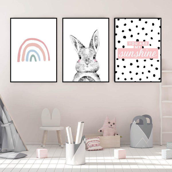 Rainbow Nursery Set, Girls Rainbow Prints, Set of 3, Girls Nursery Wall Art, You Are My Sunshine Print, Polka Dot, Girls Room Decor, Dalmatian Print, Girls Bedroom Print, Bunny Rainbow Print, Rabbit Rainbow Prints, Girls Room Wall Art