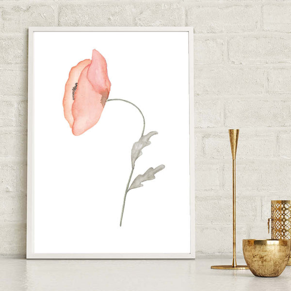 Red Poppy Watercolour Floral Print