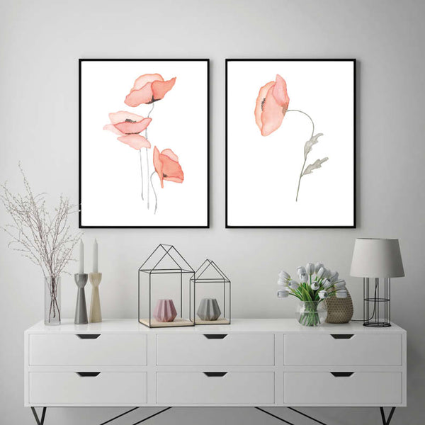 Set of 2 Red Poppies Watercolour Print Home Decor
