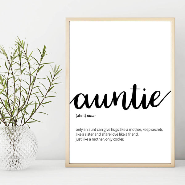 Auntie Definition Print, Aunt Gift, Aunt Poster, Aunt Wall Art Poster