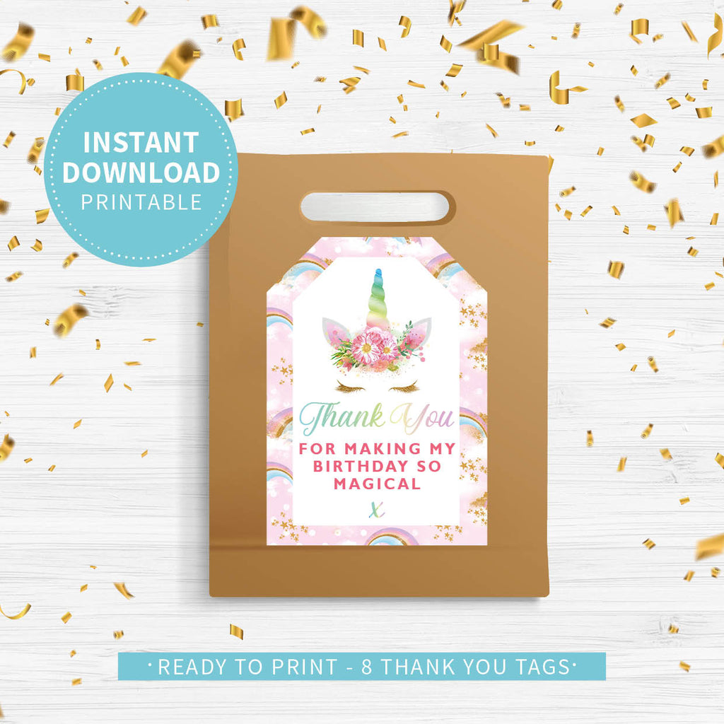 Unicorn Birthday Party Thank You Tags