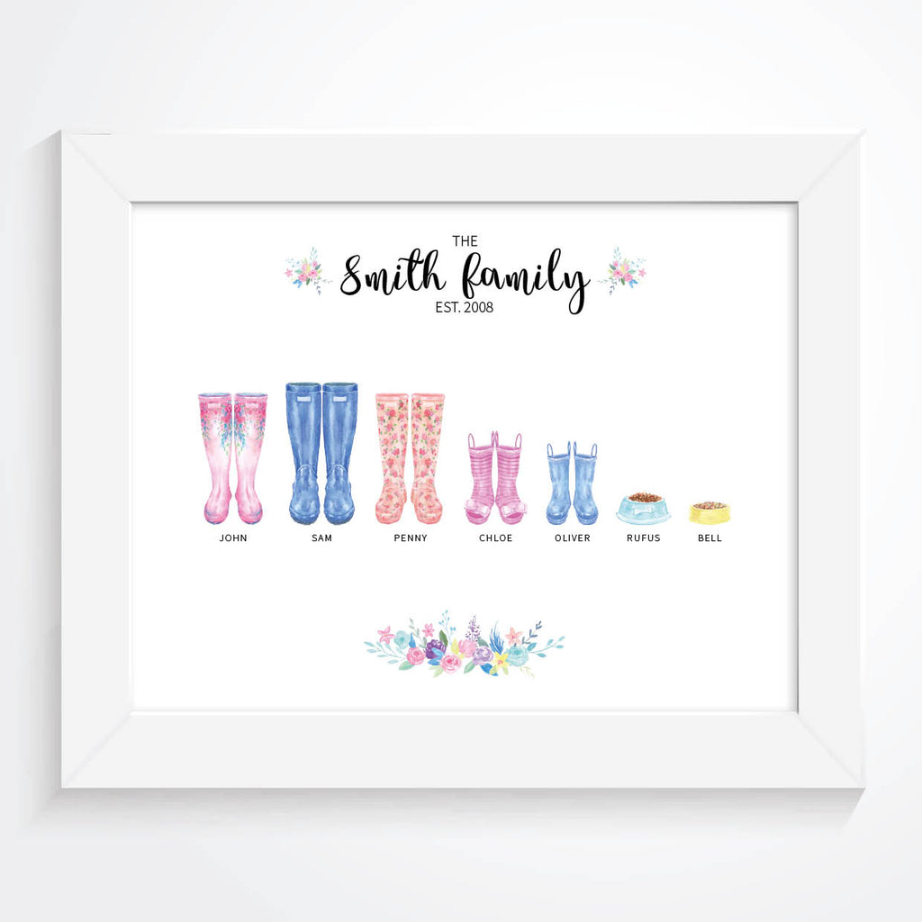 Personalised Family Welly Print - Couture Moments