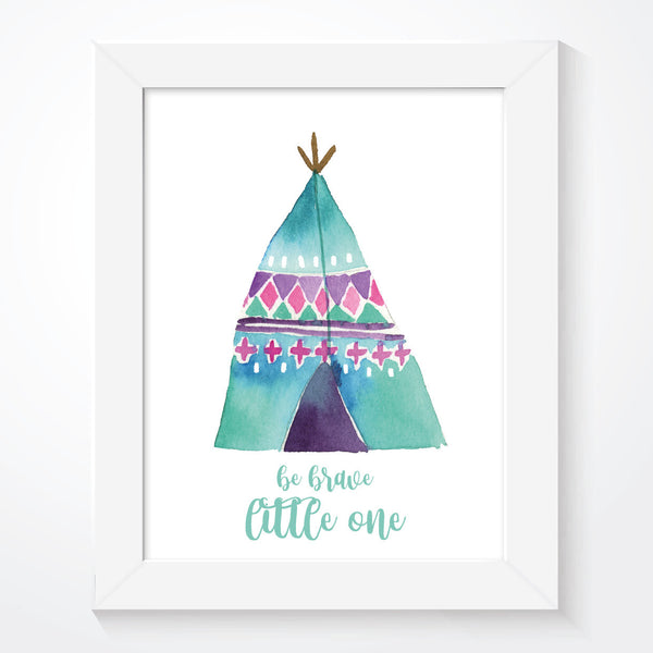 Teepee Be Brave Girls Print
