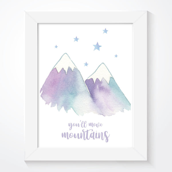 You'll Move Mountains Girls Watercolour Print