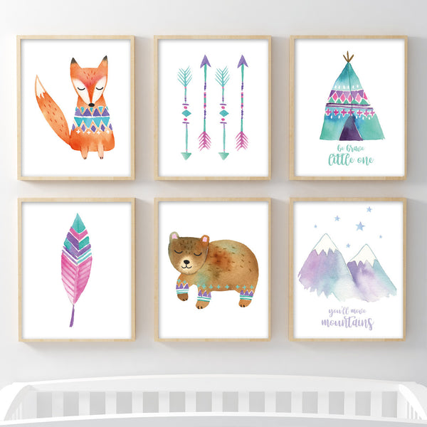 Set of 6 Girls Woodland Animals Prints