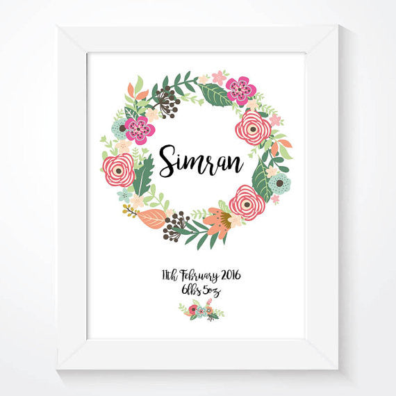 Personalised Girls Floral Nursery Name Print