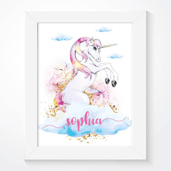 Personalised Watercolour Unicorn Poster Print