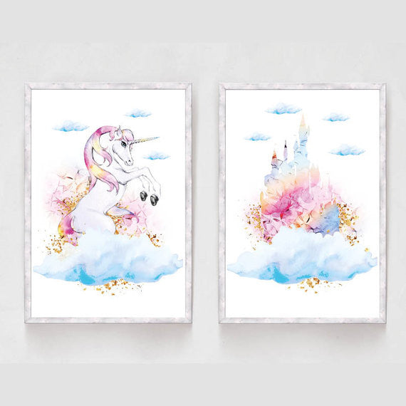 Set of 2 Princess Castle Unicorn Prints