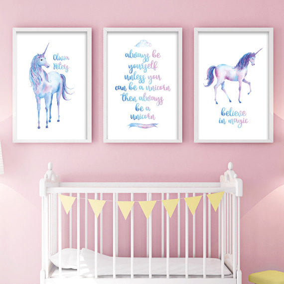Set of 3 Girls Unicorn Prints