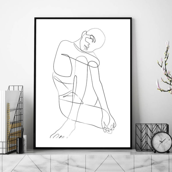 Female Body Line Art Print - Couture Moments