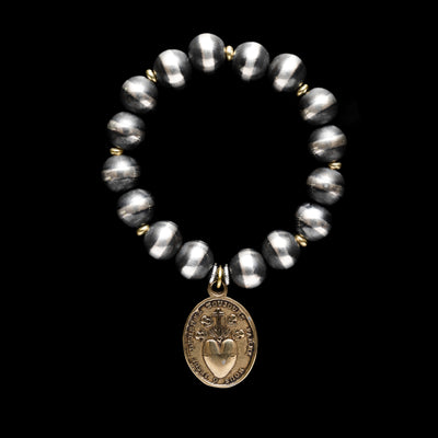 Santa Fe Pearl Stretch Bracelet with Bronze Sacred Heart Pendant - 10mm