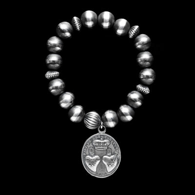Santa Fe Pearl Stretch Bracelet with Sacred Heart Charm - 10 mm