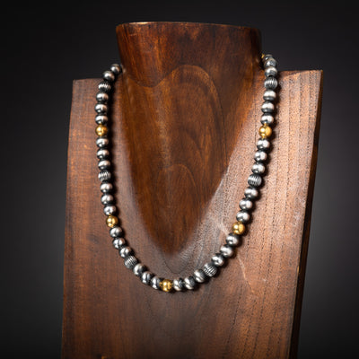 Santa Fe Pearl Necklace with Brass Bead accents