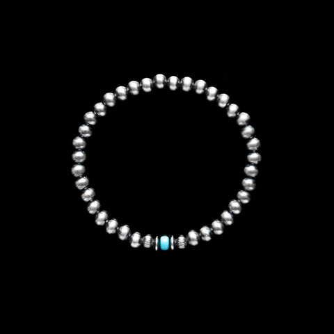 Santa Fe Pearl Stretch Bracelet With Rondel & Turquoise Accent - 5mm