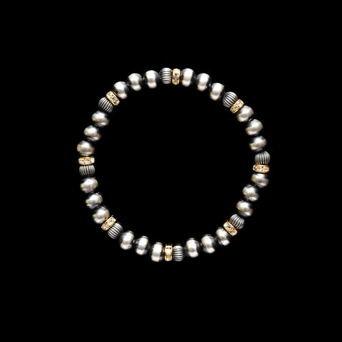 Navajo Pearl Stretchy Bracelet With Czech Gold Rondels - 6mm