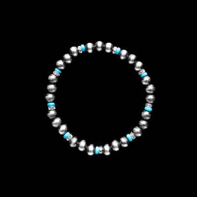 Navajo Pearl Stretch Bracelet with Turquoise & Czech- 6mm