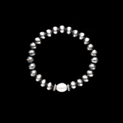 Navajo Pearls Stretch Bracelet with Freshwater Pearl - 7mm
