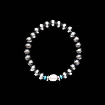 Santa Fe Pearl Stretch Bracelet with Freshwater Pearl and Turquoise - 7mm