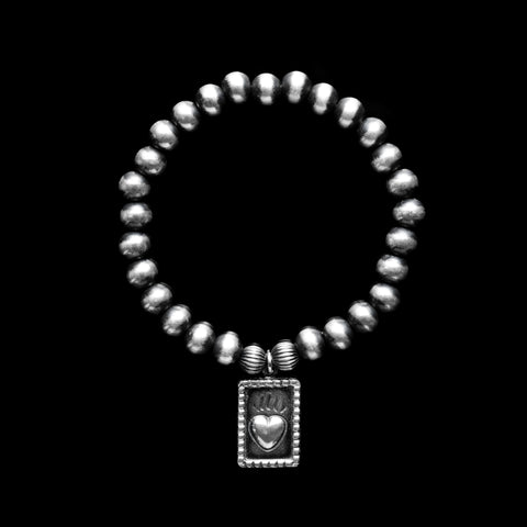 Navajo Pearls Stretch Bracelet with Sacred Heart Charm - 7mm