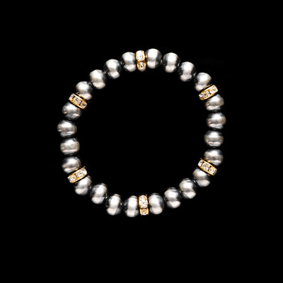 Navajo Pearl Stretchy Bracelet with Czech Crystals and Gold Beads - 8 mm