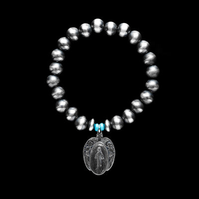 Santa Fe Pearl Stretch Bracelet with Mary Charm and Turquoise Beads - 8 mm