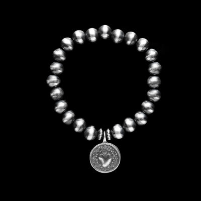 Navajo Pearl Stretchy Bracelet with Sacred Heart Charm - 8 mm