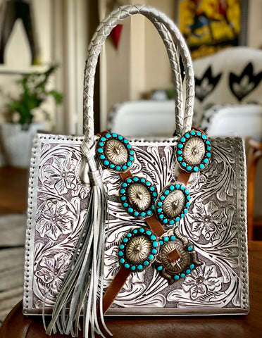 Dan Martinez Concho Belt & Tooled Leather Tote