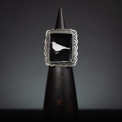 Black Bird Sterling Silver Adjustable Ring