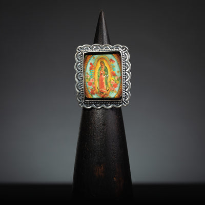 Our Lady of Guadalupe Sterling Silver, Rectangle Ring