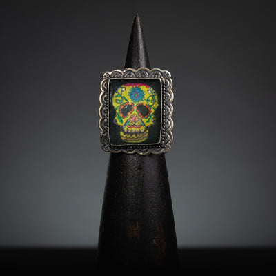 Colorful Dia De Los Muertos Sterling Silver, Rectangle Ring