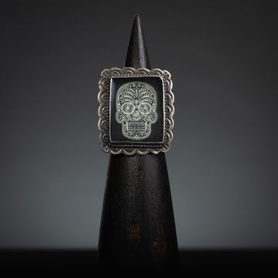 Black and White Dia De Los Muertos Sterling Silver, Rectangle Ring