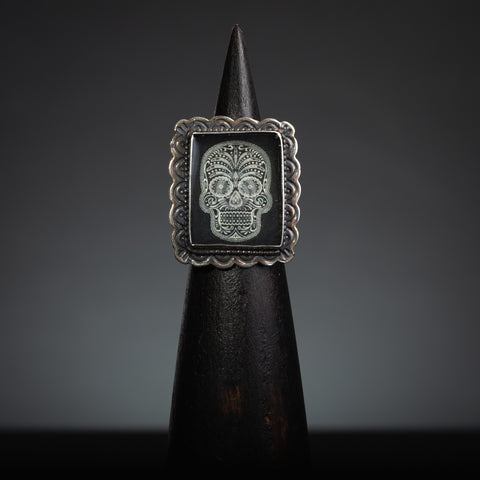 Black and White Dia De Los Muertos Sterling Silver, Adjustable Ring