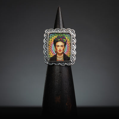 Frida Kahlo Sterling Silver, Rectangle Ring