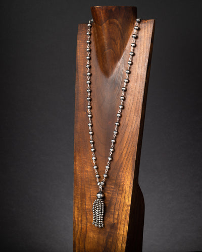 Rosary Style Mid-Sized Tassel Necklace