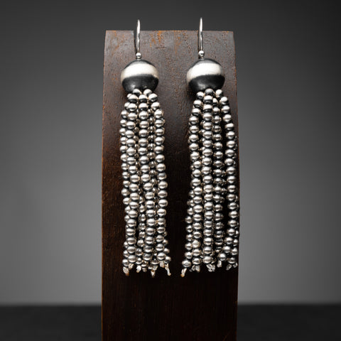 Long Santa Fe Pearl Tassel Earrings