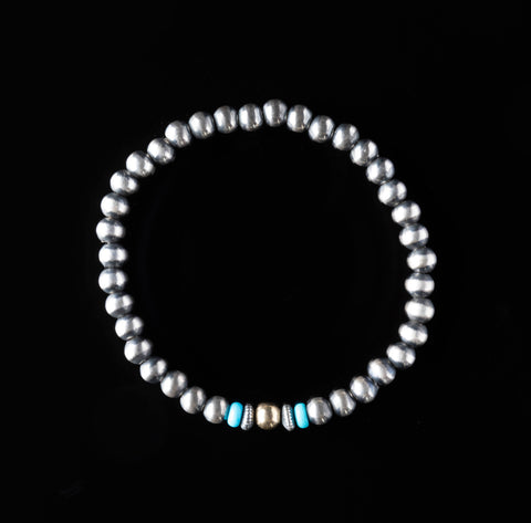 Navajo Pearl Stretchy Bracelet - 5 mm with Turquoise and 14k Gold Bead