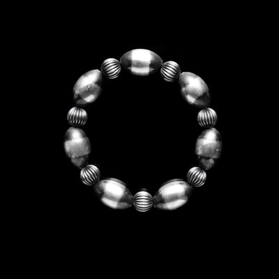 Oval Santa Fe Pearl Stretch Bracelet with Corrugated Rondel Beads
