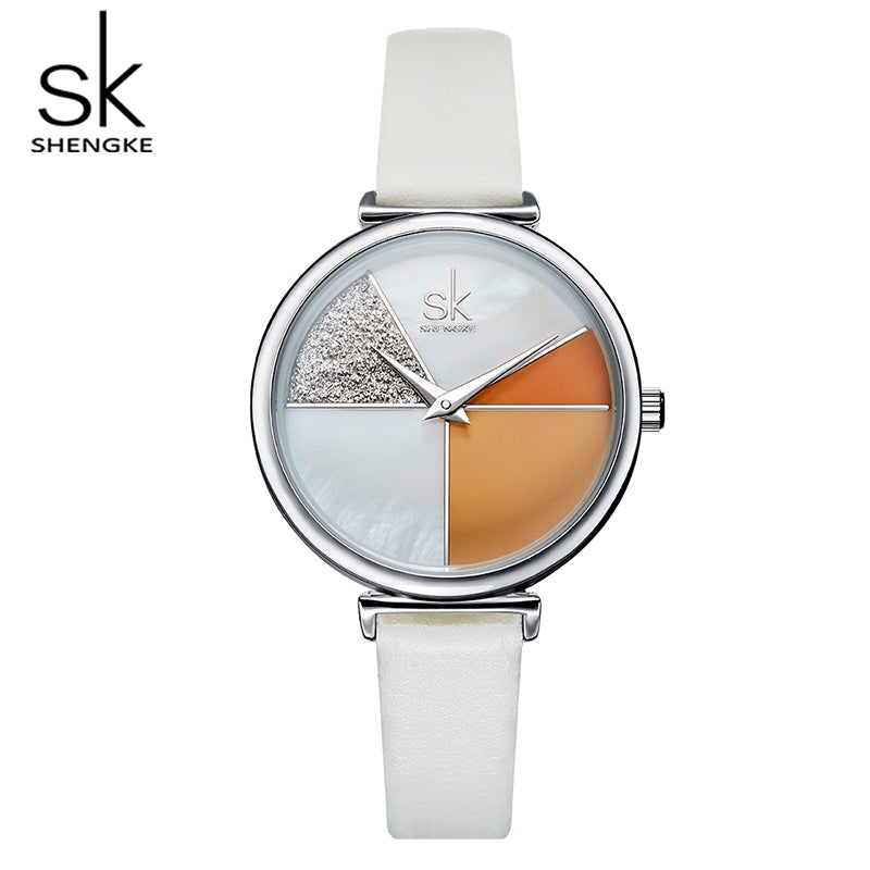 Creative Women Watches Shell Dial Fashion Leather Ladies Quartz Watch Irregular Clock 2019 - MARI MAR SHOP