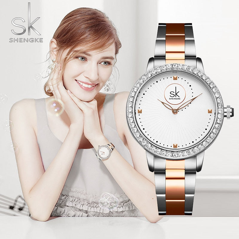 SK Elegant Diamond Stainless Steel Watch Strap Bracelet Women Wrist Watch - MARI MAR SHOP