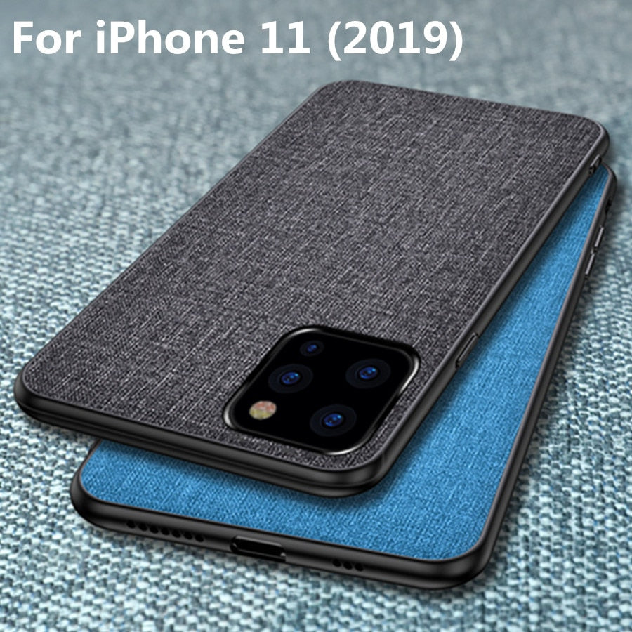 Luxury Fabric Business Case For iPhone 11 11 Pro Max 6.5 inch Cover xr xs 7 8 6 S Plus - MARI MAR SHOP