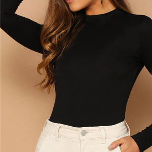 Spring Black Solid Form Slim Fit Tee Women Stand Collar Mock Neck  Tshirt (wo1) - MARI MAR SHOP