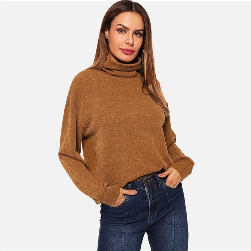 Women Brown High Neck  Pullover Minimalist Sweatshirts  (wo1) - MARI MAR SHOP