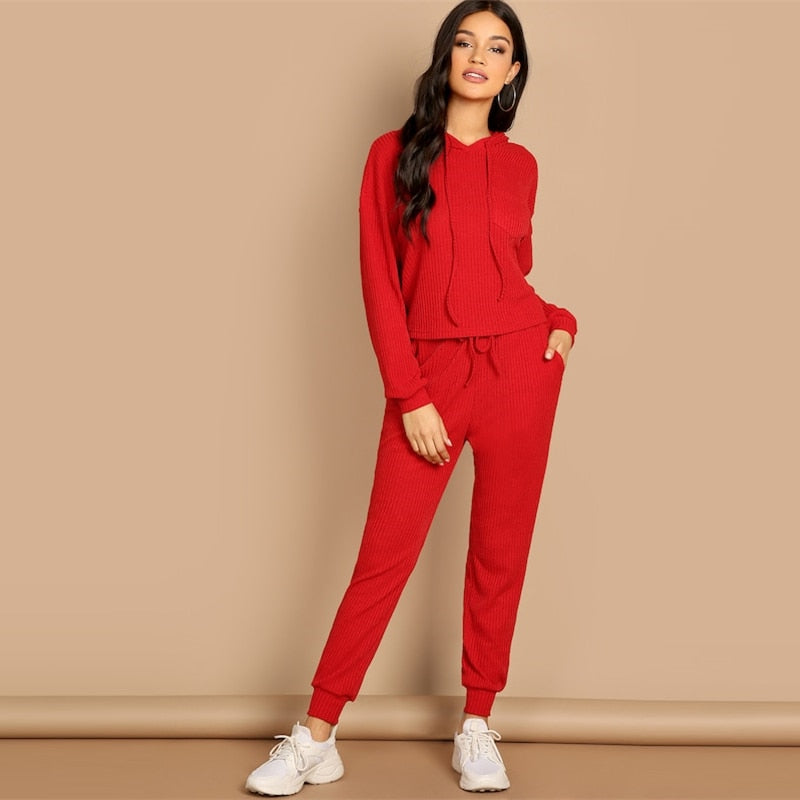 Women Two Pieces Sets Red Pocket Patched Solid Hoodie and Drawstring Waist Pants (wo1) - MARI MAR SHOP