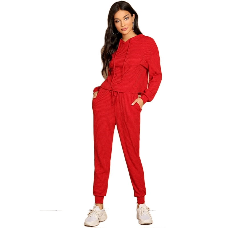 Women Two Pieces Sets Red Pocket Patched Solid Hoodie and Drawstring Waist Pants (wo1)