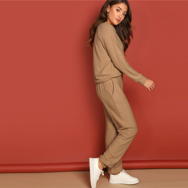 Women's Apricot Round Neck Solid Pullover and Slant Pocket Plain Pants Set Minimalist Two piece (wo1) - MARI MAR SHOP