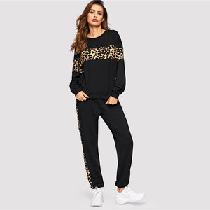 Women O-neck Black Leopard Panel Pullover  Athleisure Sweatshirt and Sweatpants Set Two Piece Sets (wo1) - MARI MAR SHOP