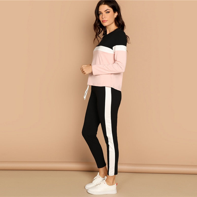 Women Two Piece Set  Athleisure Color-Block Top and Drawstring Waist Side Panel Pants (wo1) - MARI MAR SHOP