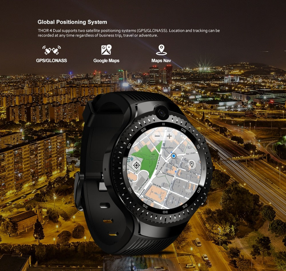 "Zeblaze THOR 4 Dual 4G Smart Watch 5.0MP+5.0MP Dual Camera Android Watch 1.4"" AOMLED Display GPS/GLONASS 16GB - MARI MAR SHOP"